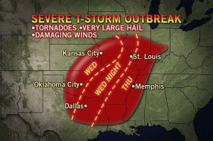 A weather map of severe storms over Oklahoma, Texas, and Arkansas on April 18, 2013