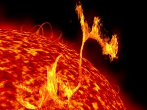 A picture of a solar flare, or CME, exploding off the surface of the Sun.